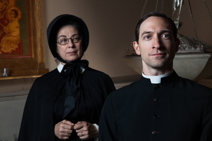 Mary Martello and Ben Dibble in Lantern Theater Company's DOUBT (Photo by Plate 3 Photography)