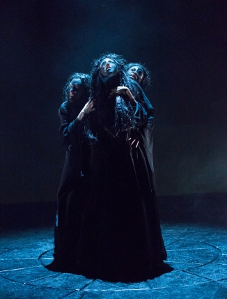 E. Ashley Izard, Mary Tuomanen, and Amié Donna Kelly as the Weird Sisters in Arden Theatre Company's production of Macbeth. Photo by Mark Garvin.