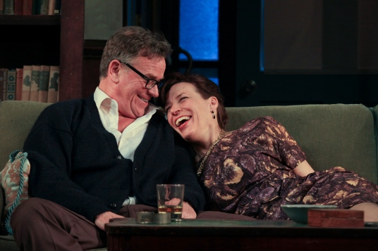 George (Pearce Bunting) and Martha (Catharine Slusar) in Who's Afraid of Virginia Woolf? at Theatre Exile. (Photo by Paola Nogueras)