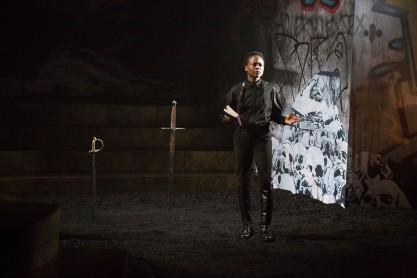 Zainab Jah (Hamlet) at the Wilma Theater. (Photo by Alexander Iziliaev)