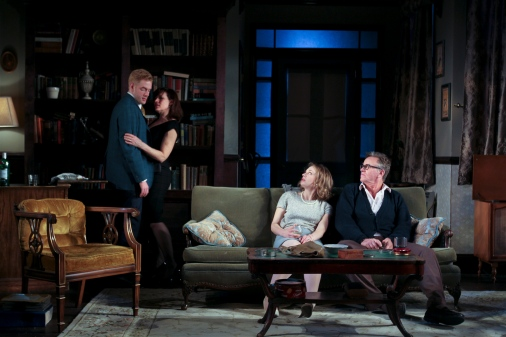 Nick (Jake Blouch), Martha (Catharine Slusar), Honey (Emilie Krause), and George (Pearce Bunting) in Who's Afraid of Virginia Woolf? at Theatre Exile. (Photo by Paola Nogueras)