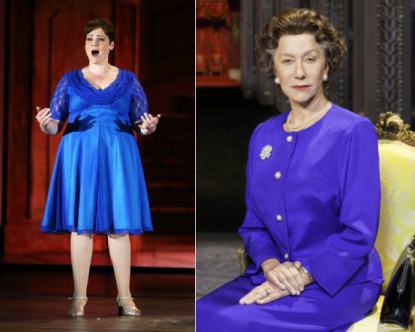 The Tonys love to showcase musicals (Lisa Howard in It Should Have Been You, left); plays (Helen Mirren in The Audience, right, not so much.