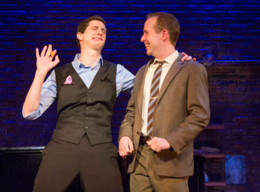 Ian Lowe (left) and Kyle Branzel (right) in Murder for Two at Philadelphia Theatre Company. (Photo by Jim Cox)