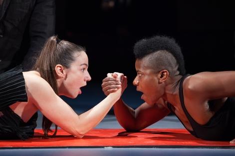 Sarah Gilko (left) and Jennifer Kidwell in Antigone. (Photo by Alexander Iziliaev)