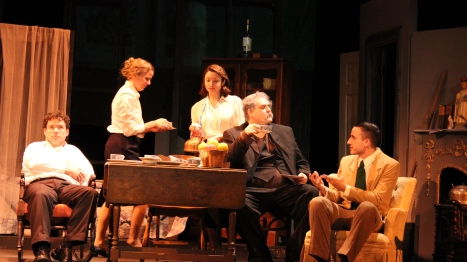 Kevin Rodden, Kirsten Quinn, Gina Martino, Ethan Lipkin, and Dexter Anderson in Juno and the Paycock. (Photos by Armen Pandola and Alexis Mayer)