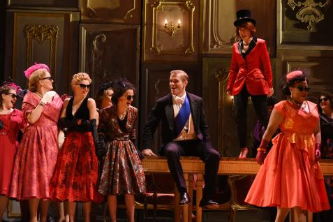 Jarrett Ott, Katherine Pracht , and ensemble in La Traviata