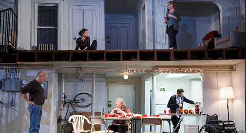 Reed Birney, Sarah Steele, Jayne Houdyshell, Cassie Beck and Arian Moayed in The Humans. (Photo by Joan Marcus)