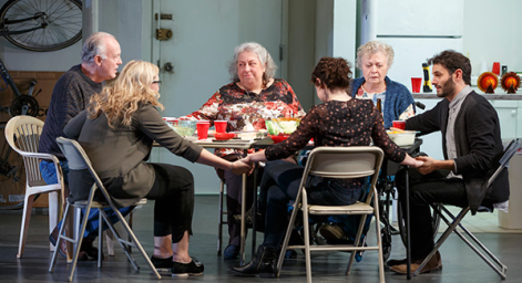 Reed Birney, Cassie Beck, Jayne Houdyshell, Sarah Steele, Lauren Klein and Arian Moayed in The Humans. (Photo by Joan Marcus)