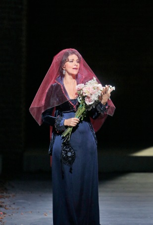Angela Gheorghiu in the title role of Puccini's Tosca. Photo by Ken Howard/Metropolitan Opera.