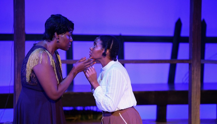 Ebony Pullum as Shug Avery and Jessica M. Johnson as Celie. Photo by Alex Medvick