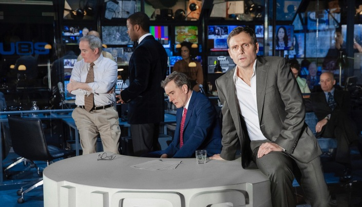Bryan Cranston, Tony Goldwyn, and the cast of Network. (Photo by Jan Versweyveld)